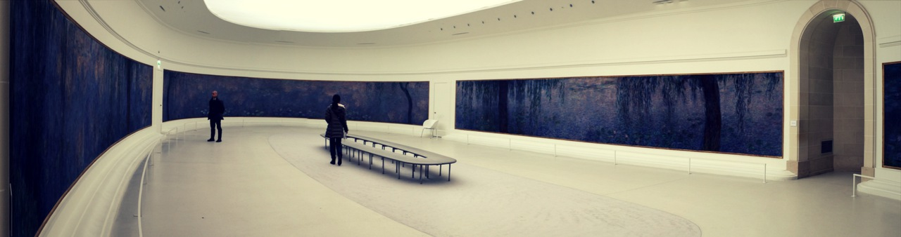 A view of a gallery with world renowned impressionist painter Monet's works of art