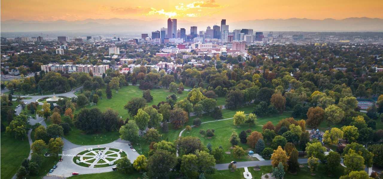 An aerial view of Denver, Colorado, skyline
