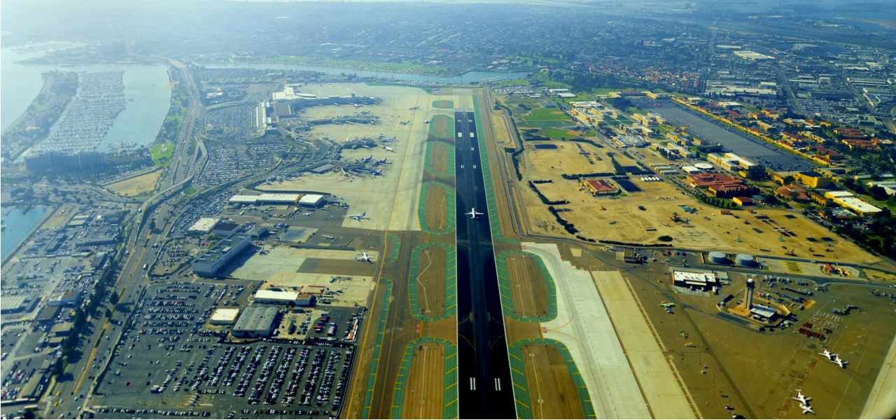 Aerial view of San Diego international airport, California