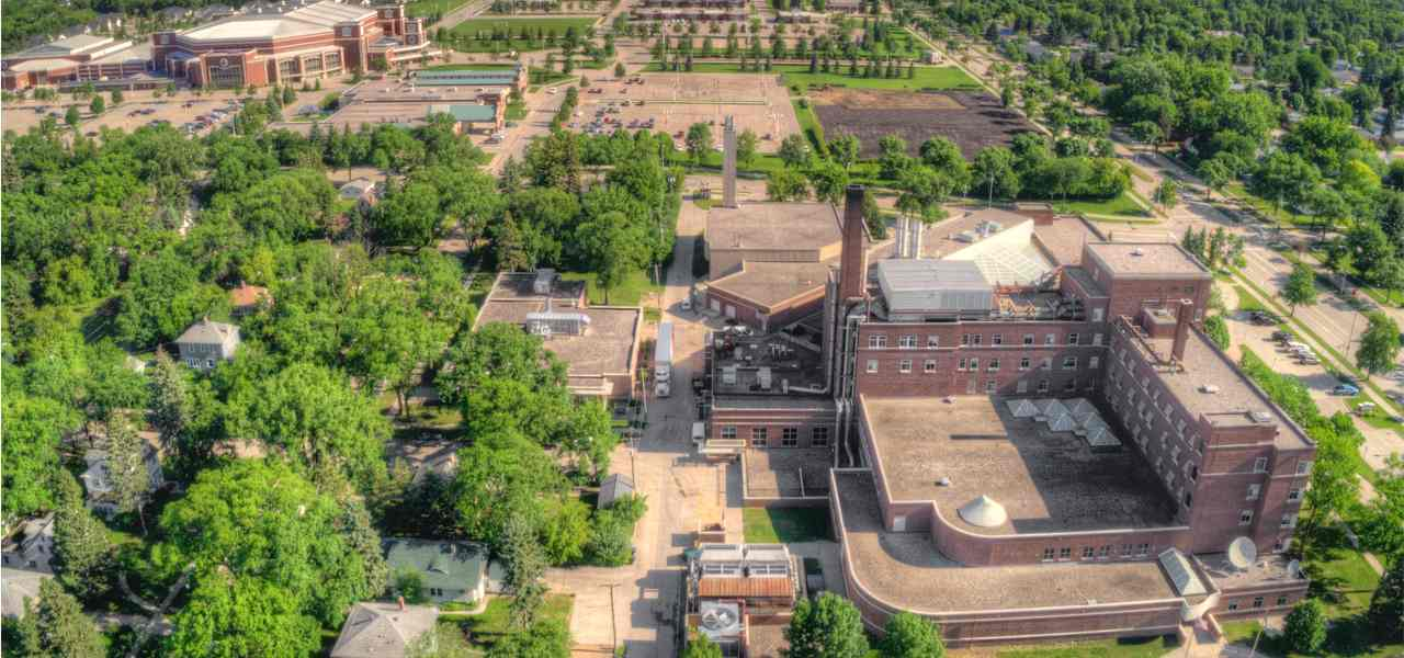 Aerial view of the University of North Dakota in Grand Forks during summer