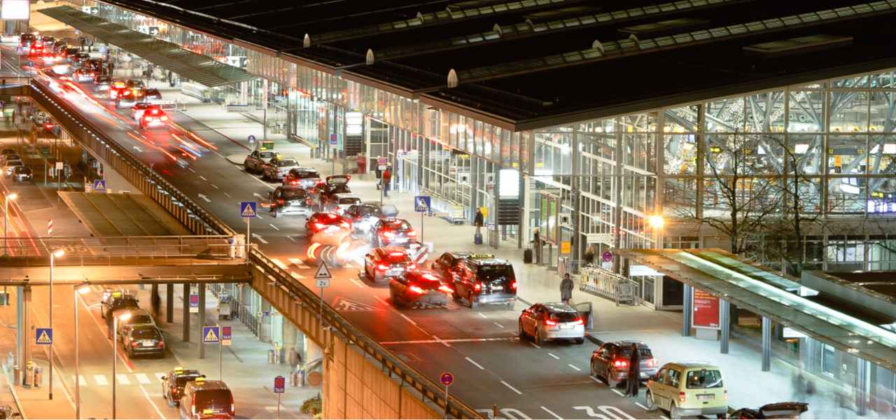 Photo of the airport terminal of Stuttgart in Germany at night