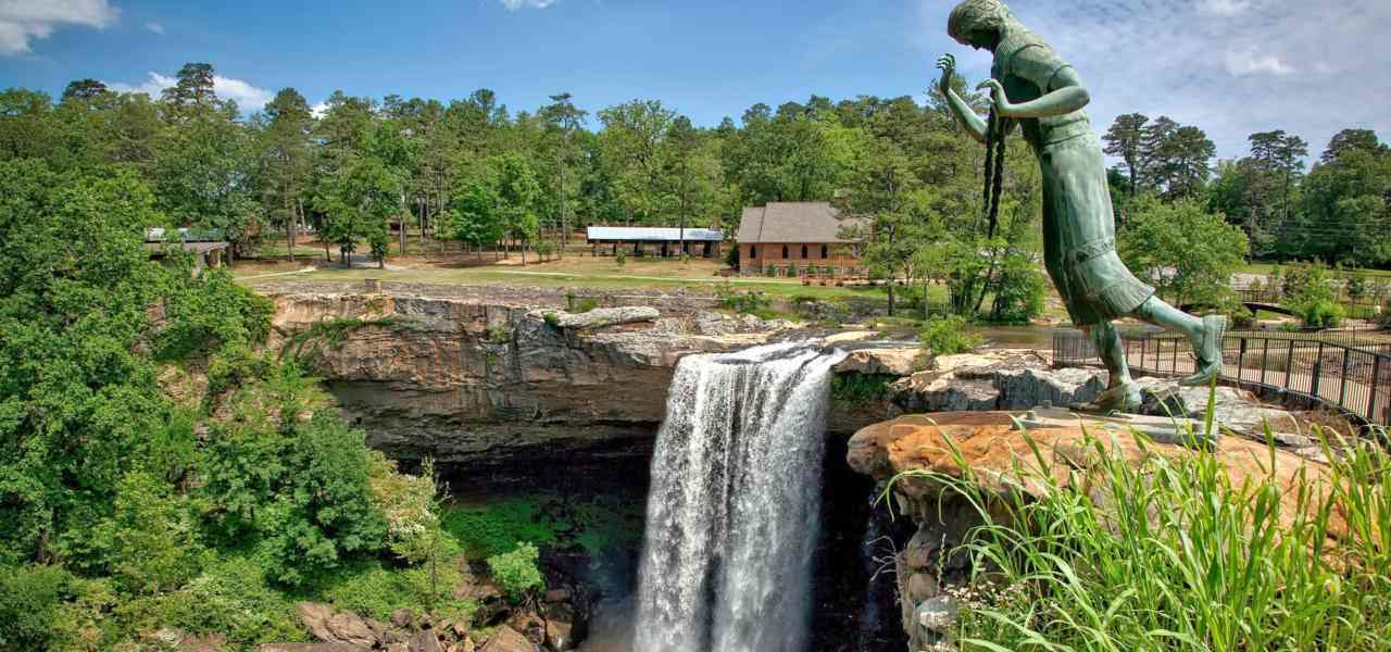 The statue overlooking the falls at Noccalula Falls Park in Gadsden