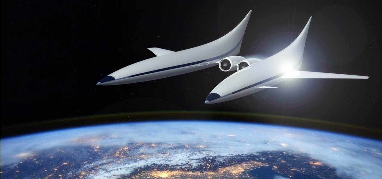 An artist's impression of a space plane orbiting around Earth