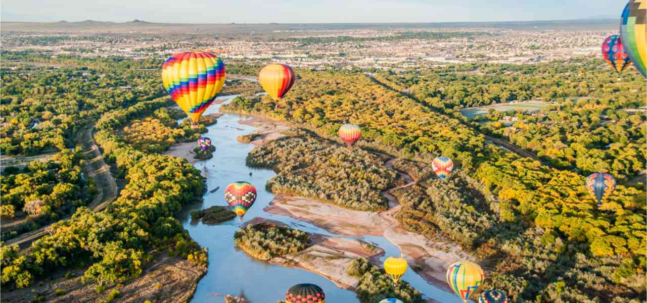 Photo taken during the Albuquerque International Balloon Fiesta over the Rio Grande.