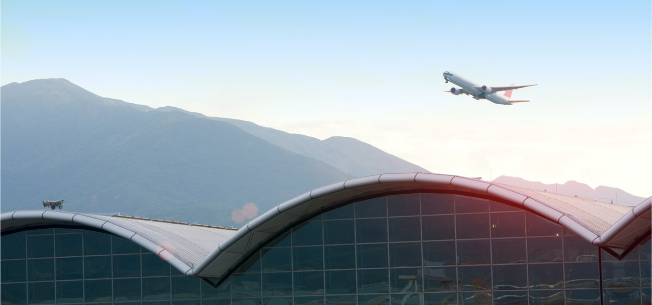 commercial aircraft flying out of China airport