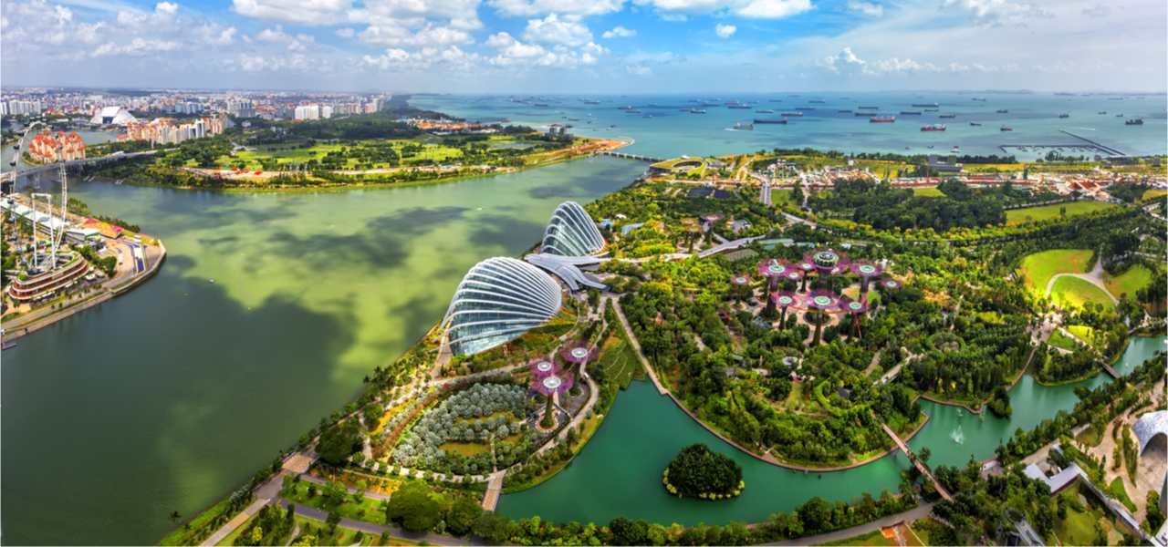Bird eyes view of Singapore City skyline