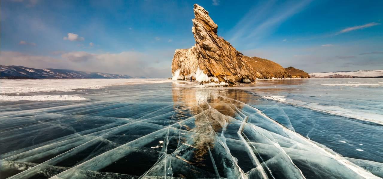 Blue skies above frozen Lake Baikal