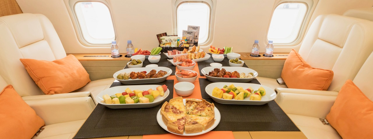 Dining on a private jet