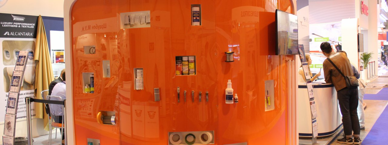 A bright glass display for RuSky Group's products on the show-floor of the Russian Air Show