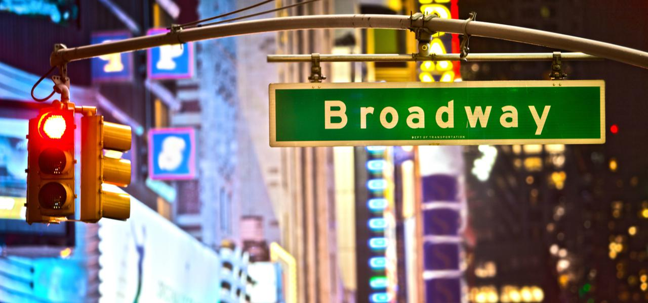 A Broadway sign on the street in New York