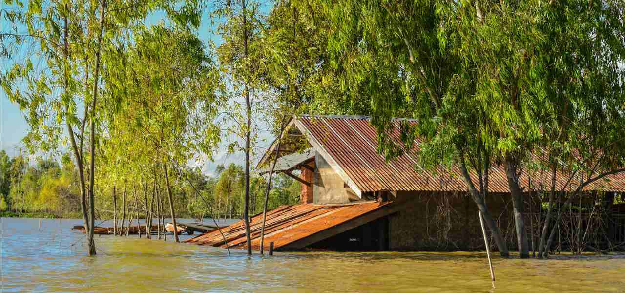 Flood water covers the first storey of a building as a result of the 2008 floods in Burma and Southeast Asia
