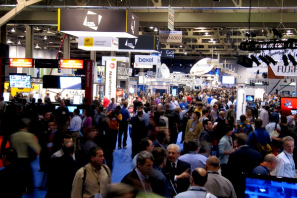 Business people at a convention centre and trade show in Las Vegas