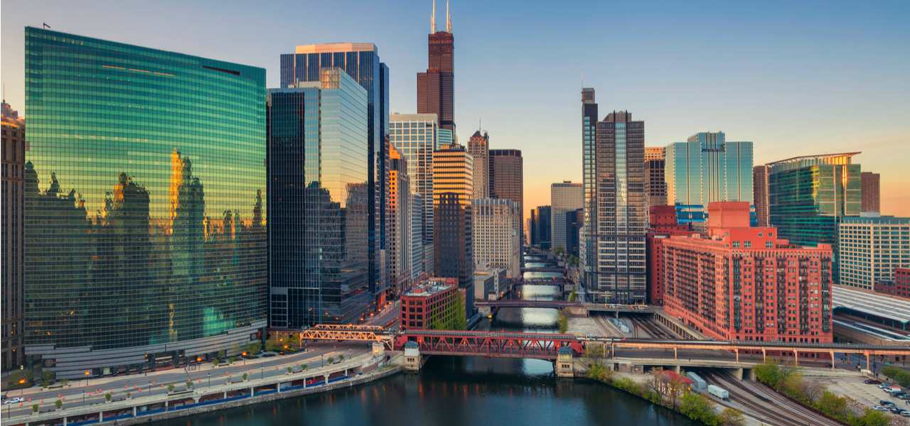 A Chicago cityscape at dawn