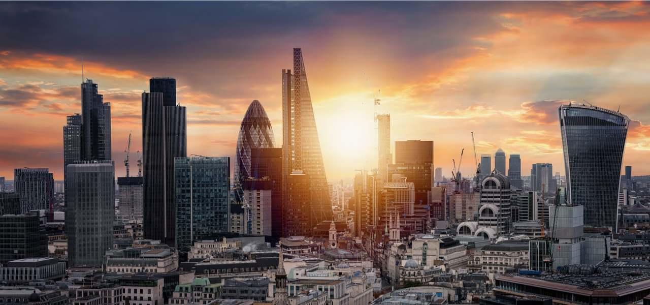 Sunrise over the City of London, United Kingdom