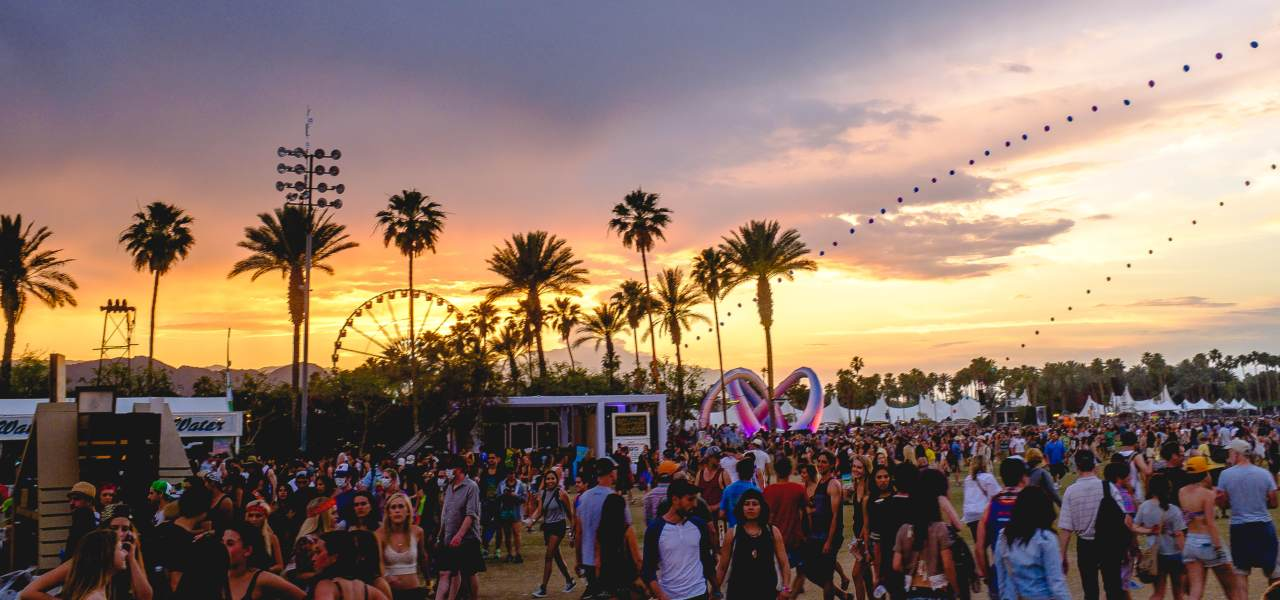 Coachella at sunset with balloon chain in the background and lightweaver.