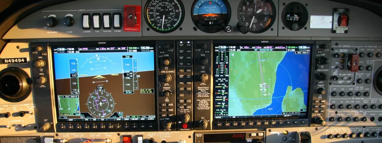 The cockpit of a Diamond DA-42 aircraft with a Garmin G1000 GPS