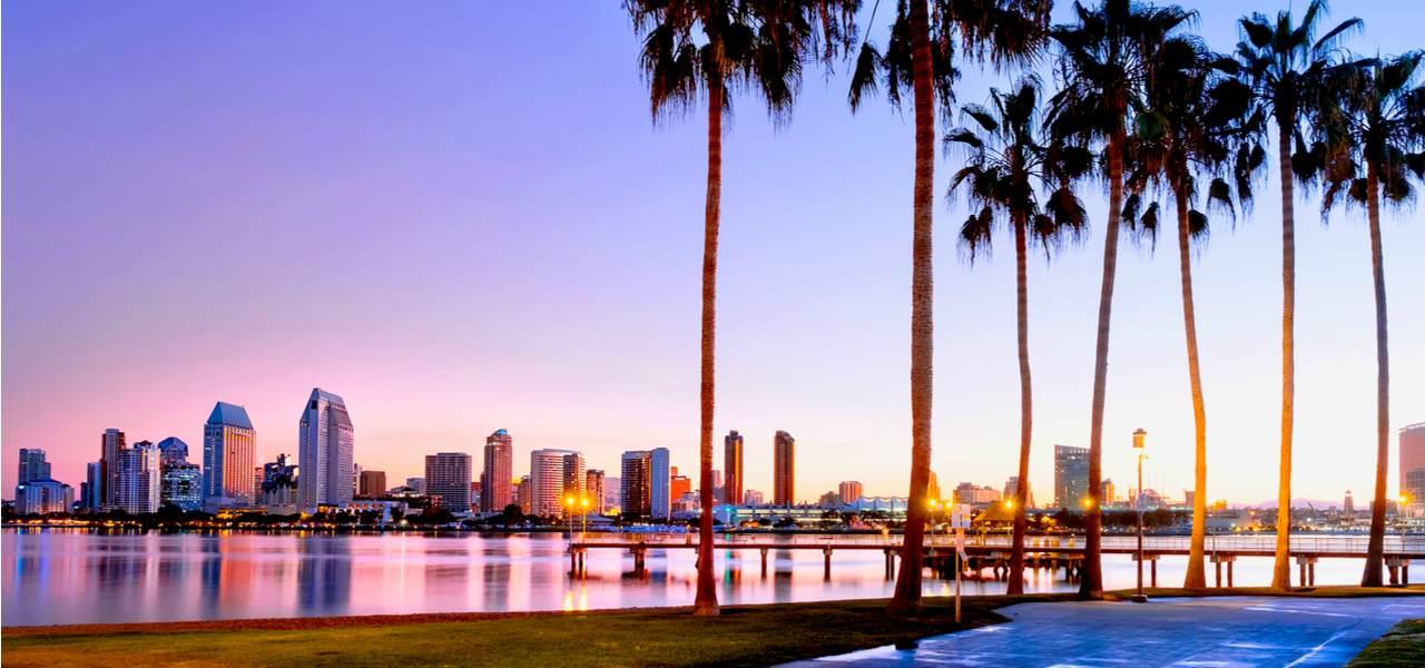 Colorful sunrise on Coronado Island in San Diego, California USA.