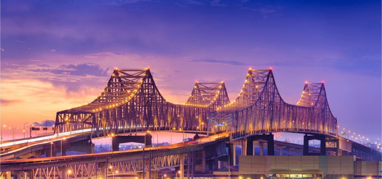 Crescent City Connection Bridge at dusk, New Orleans, Louisiana.