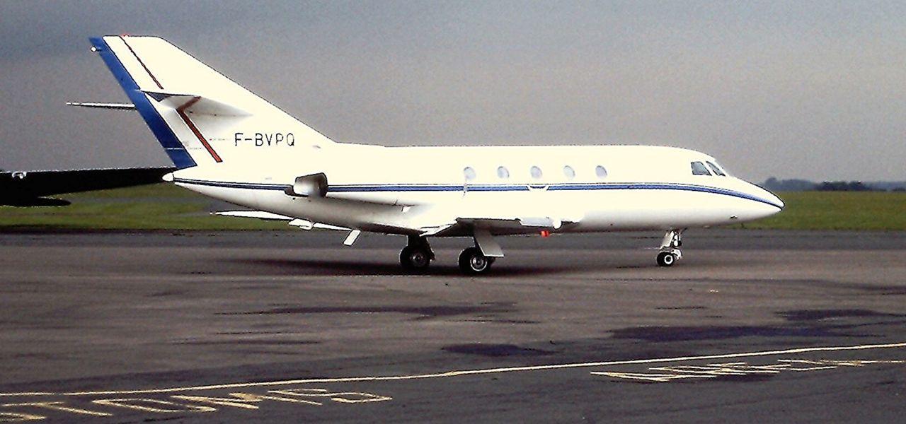 Dassault Falcon 20 en la rampa de despegue