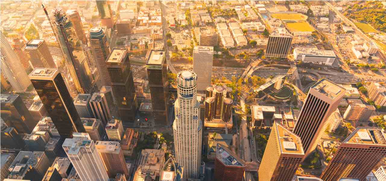 Downtown Los Angeles, an aerial view at dawn