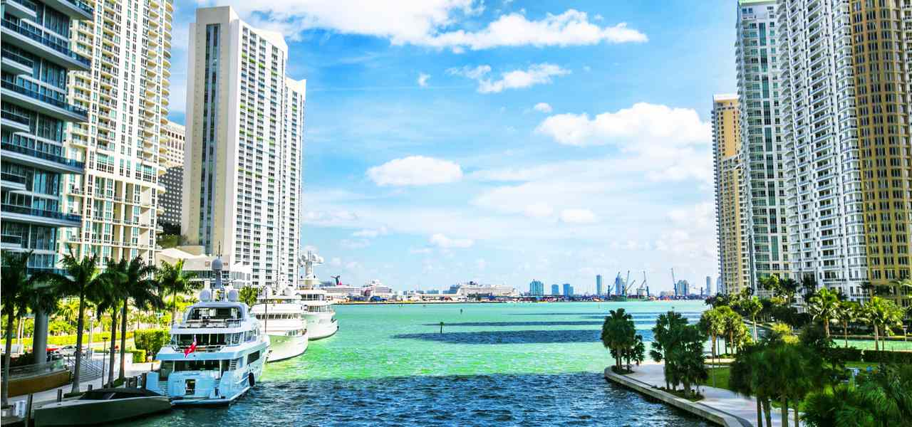 Downtown Miami along the Miami River inlet, and Brickell Key behind