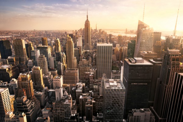 Downtown New York from a helicopter