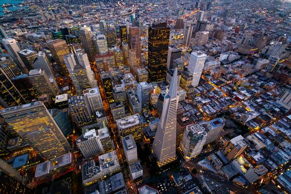 Downtown San Francisco from a helicopter