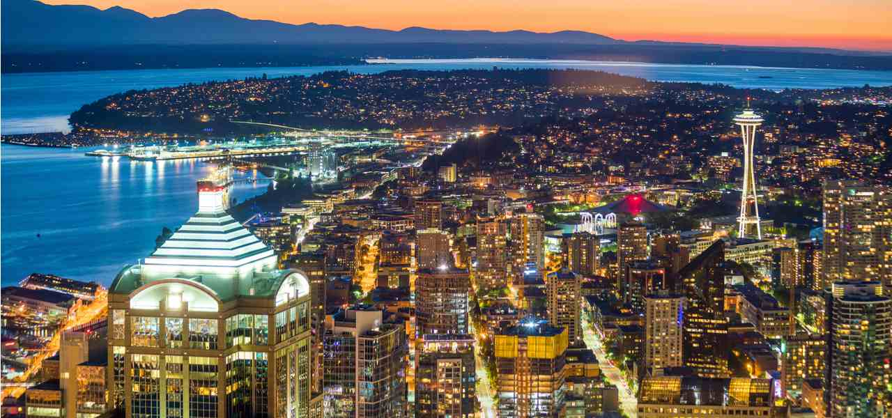 The downtown Seattle skyline and coast at dusk