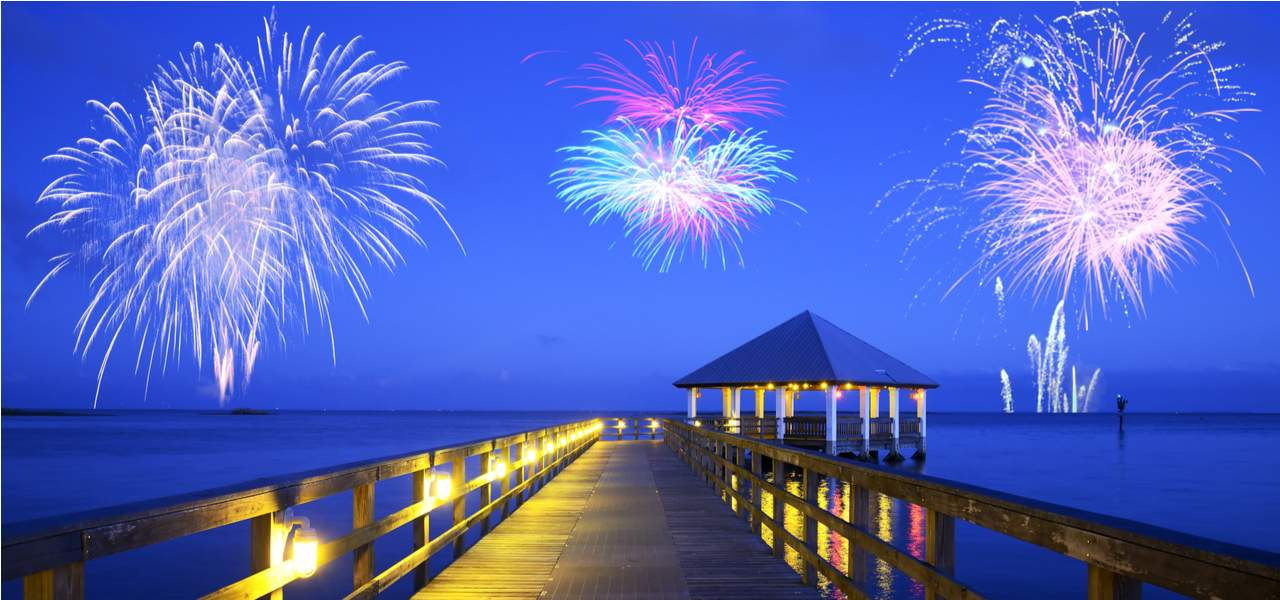 Fireworks over Apalachicola sea landscape in Florida