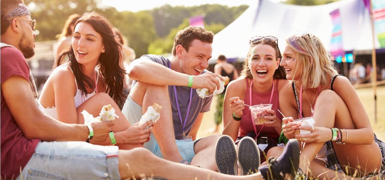 Friends enjoying food festival