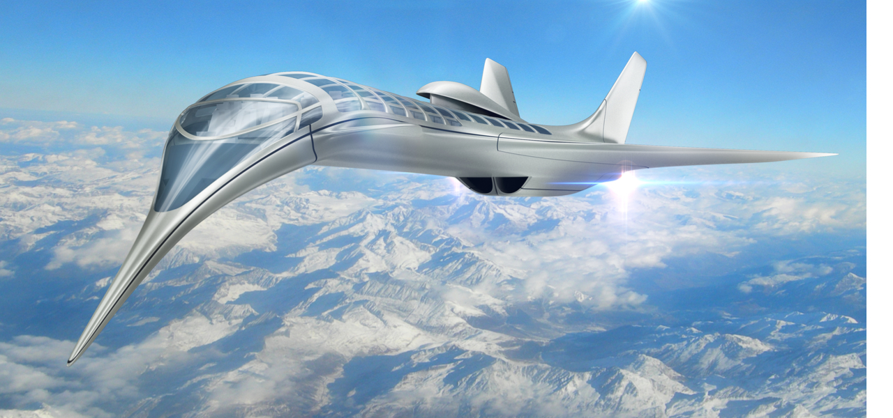 Futuristic model of aircraft design flying in blue sky with clouds