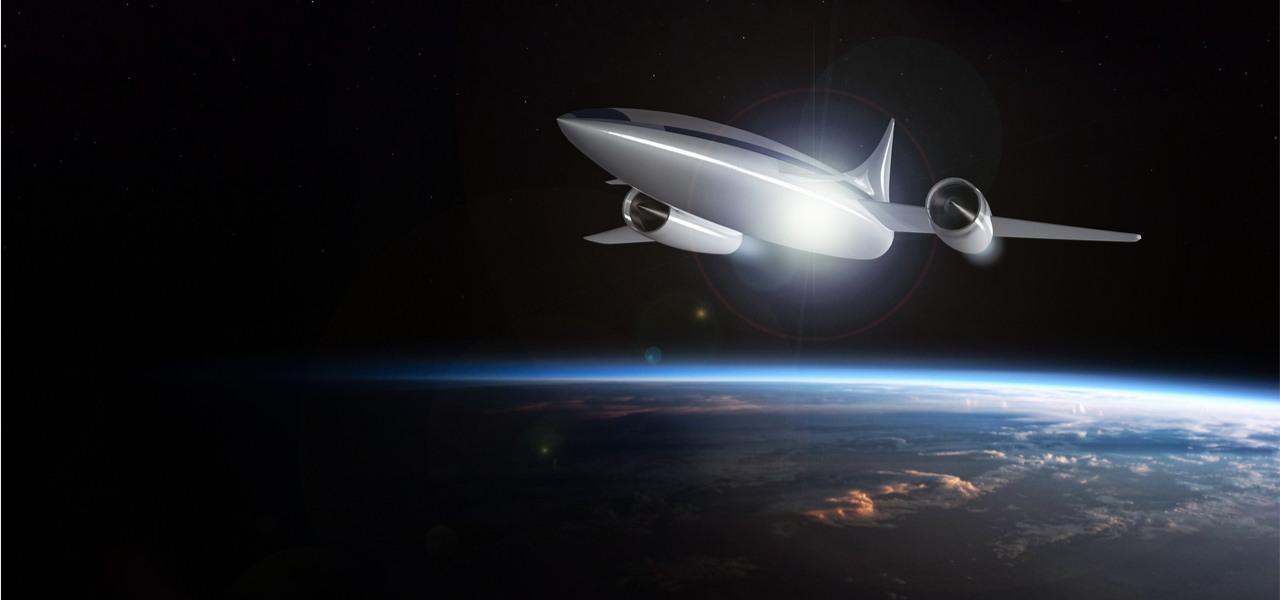 Concepto de un avión hipersónico futurista volando en la estratosfera