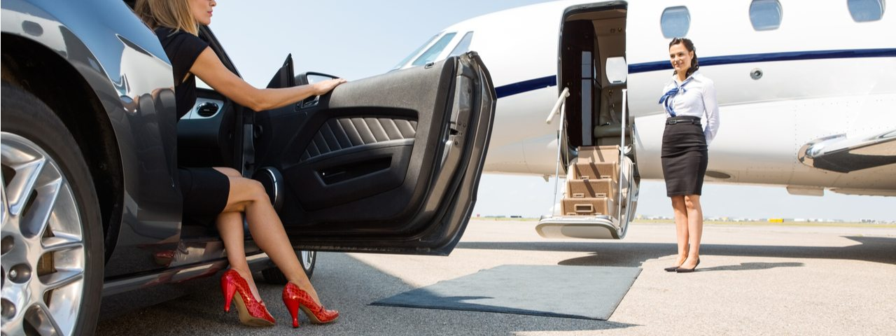 Boarding a private jet