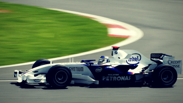 Formula One racer on the track at the British Grand Prix