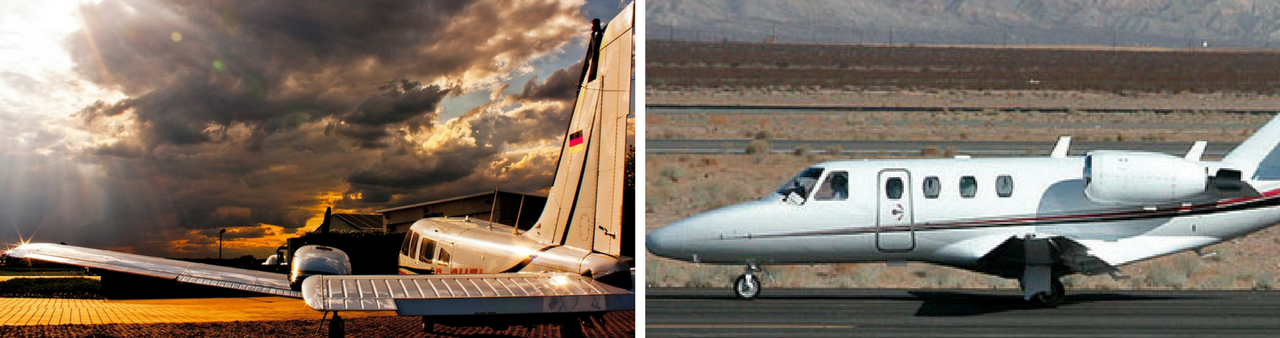 Самолеты Piper Seneca (слева) и Cessna Citation (справа)