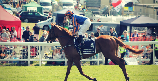 Race Horse and Jockey at the Epsom Derby Horse Event