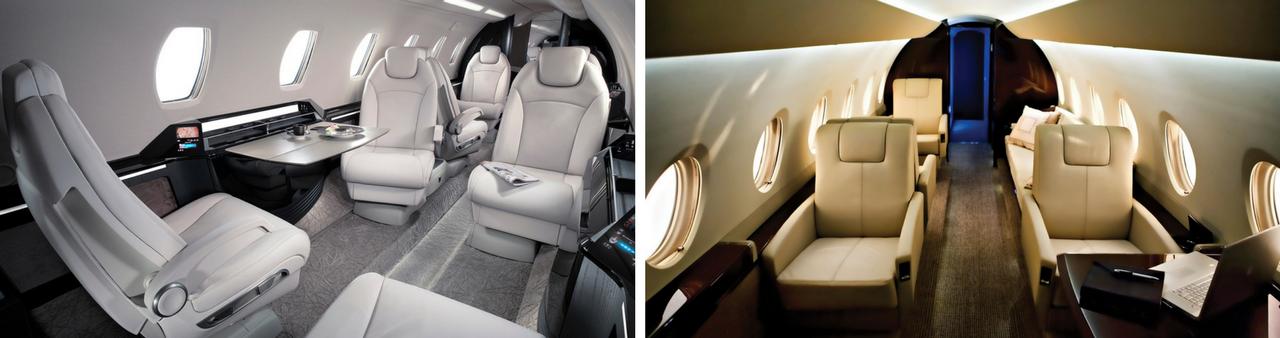 Интерьер самолетов Cessna Citation X (слева) и Gulfstream 200 (справа)