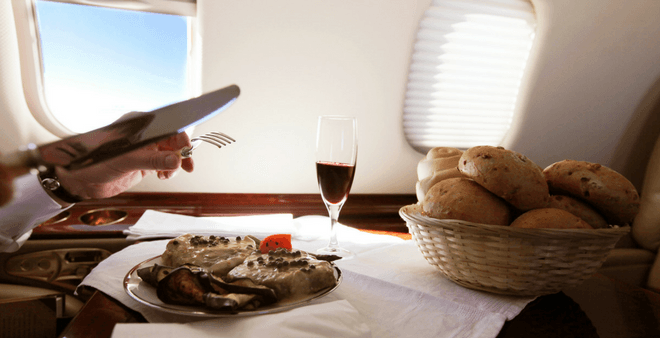 Dinner served on board a private aircraft