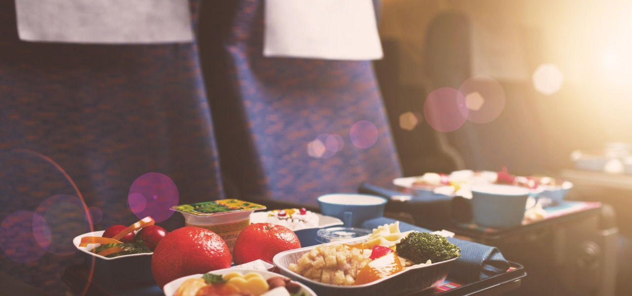 Delicious healthy food served in business class on the plane