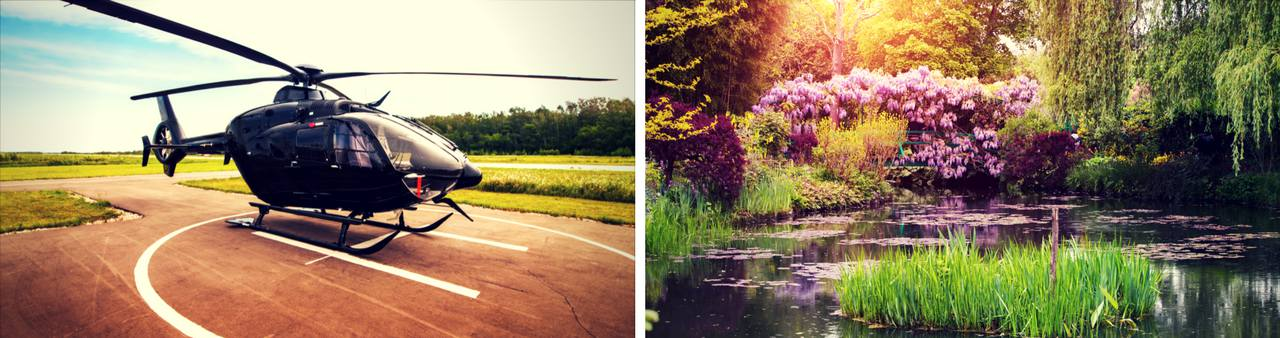 Helicopter waiting on helipad with the famous Monet's hometown Giverny