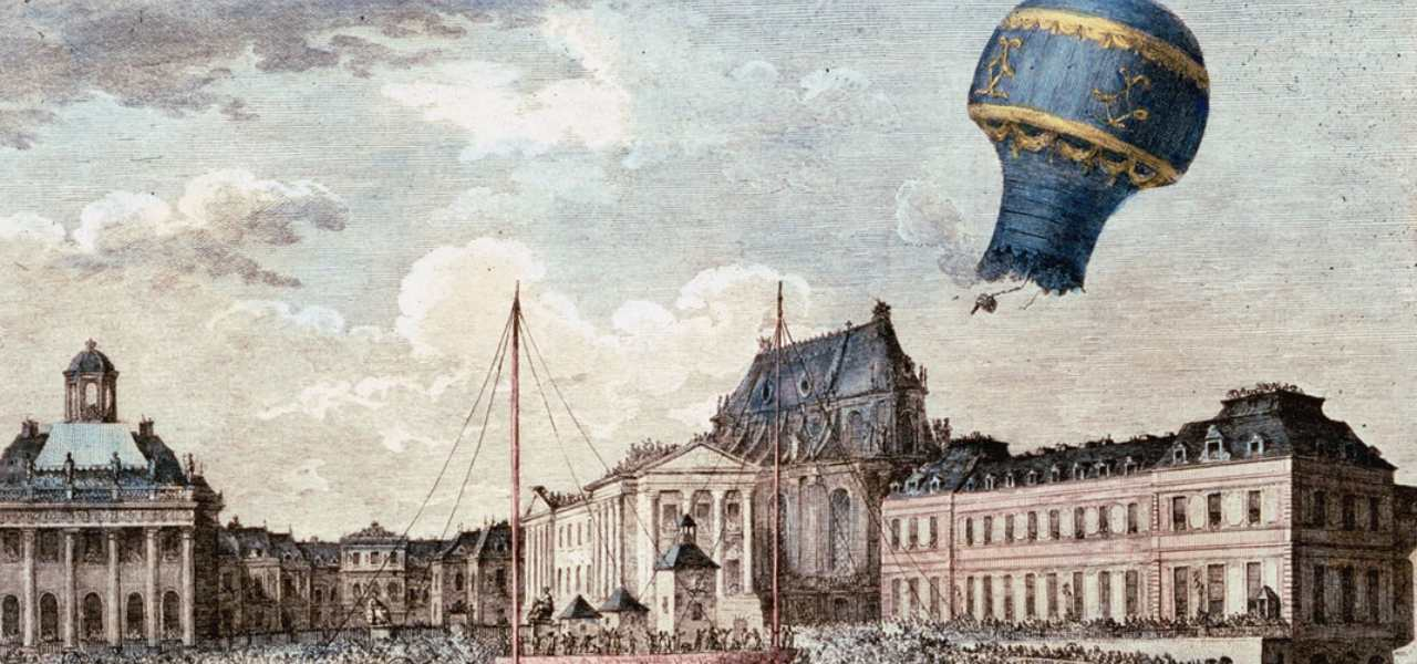 Image depicts first hot air balloon flight over Marseilles, France, in 1783. The balloon is named a Montgolfiere after its inventors Joseph and Jacques Montgolfier