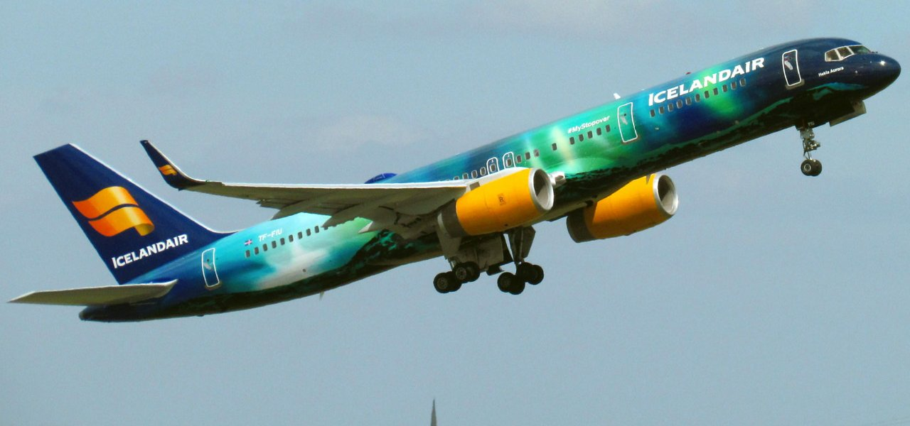 IcelandAir's Hekla Aurora, with an image of the northern lights painted on its exterior