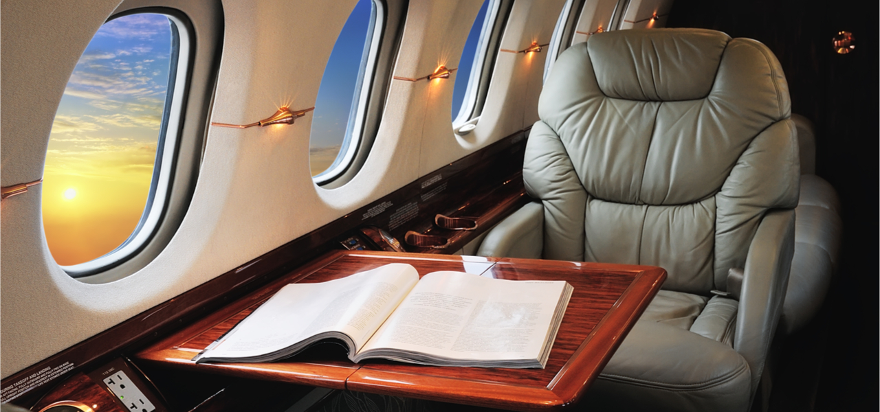business jet interior sunset