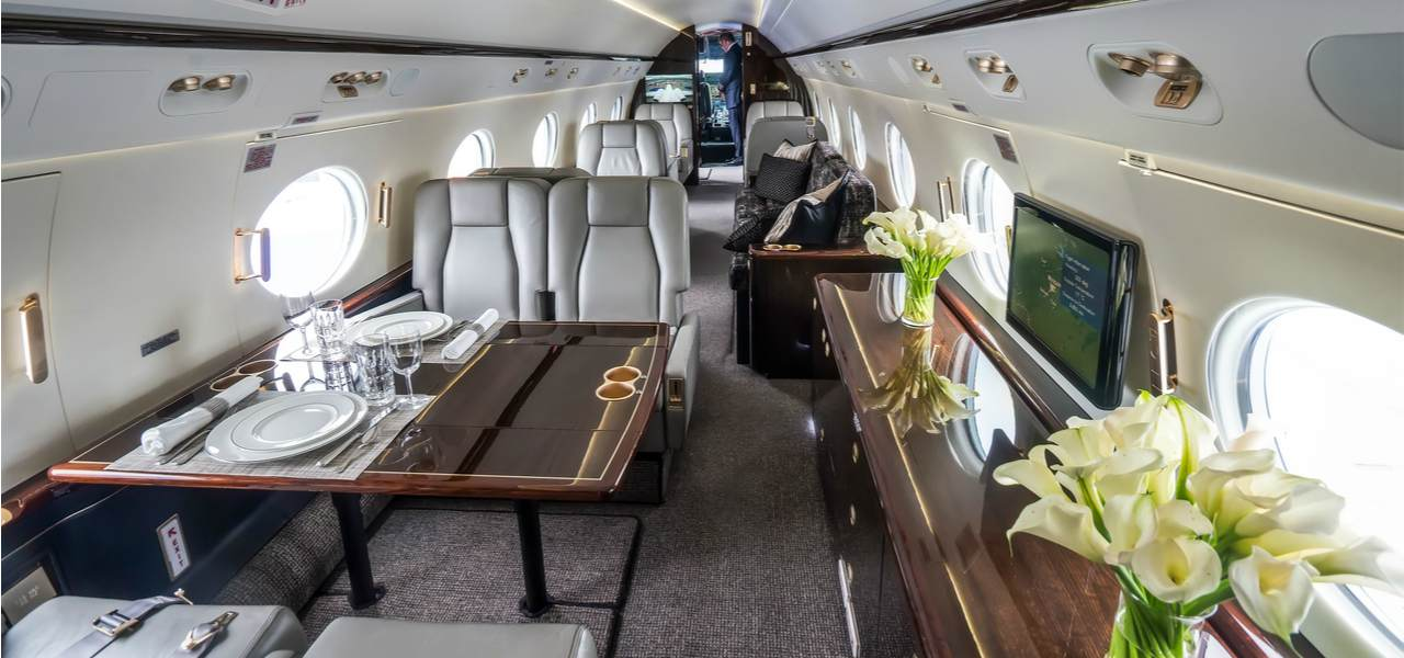 Interior of private jet.