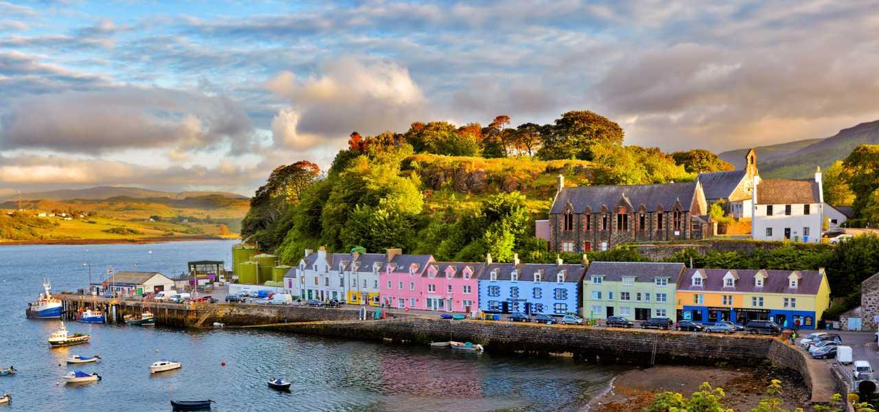 Stunning view on Portree, Isle of Skye in Scotland