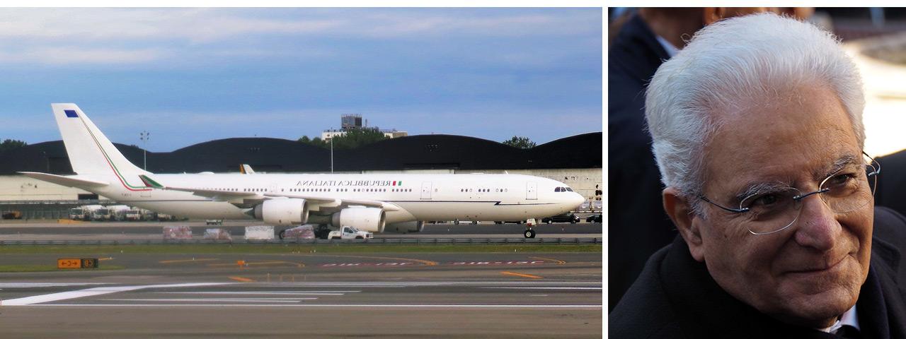 Italian president Sergio Mattarella and his Airbus A340-500