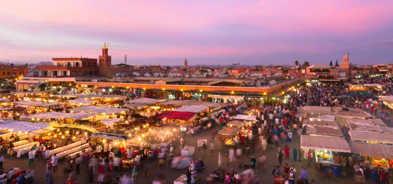 Jamaa el Fna square and market place in Marrakesh's medina quarter