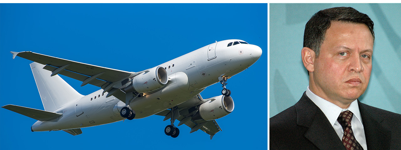 King Abdullah II ibn Hussein of Jordan and his $50 million Airbus A318-112 Elite