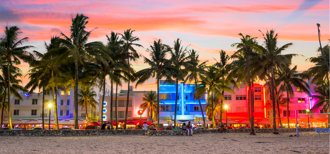 View of Miami beach at dusk