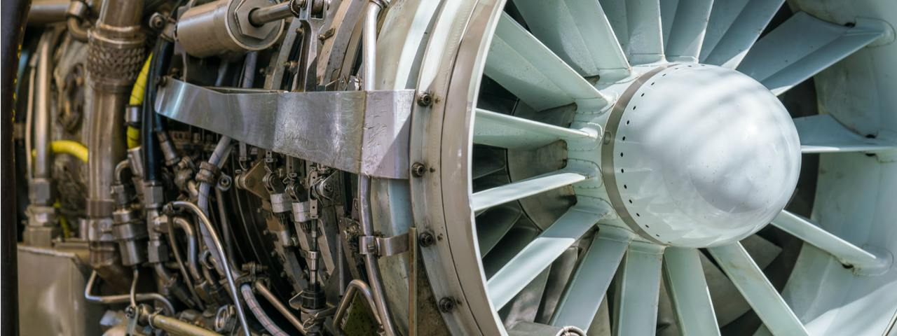 A military jet plane rotor under heavy maintenance